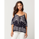 PATRONS OF PEACE Medallion Womens Cold Shoulder Top