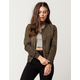 IVY & MAIN Matte Satin Womens Bomber Jacket