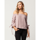 SKY AND SPARROW Grommet Lace Up Womens Top