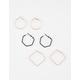 FULL TILT 3 Pairs Geometric Hoop Earrings