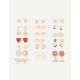 FULL TILT 20 Pairs Heart/Flower Earrings