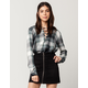SKY AND SPARROW Plaid Rayon Womens Lace Up Top
