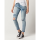 SKY AND SPARROW Roll Cuff Womens Ripped Jeans