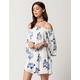 BLU PEPPER Watercolor Floral Off The Shoulder Dress