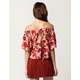 EN CRÈME Floral Womens Off The Shoulder Top