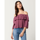 H.I.P. Ruffle Womens Off The Shoulder Top