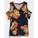 FULL TILT Floral Cold Shoulder Girls Top