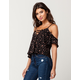 POLLY & ESTHER Ditsy Floral Womens Cold Shoulder Top