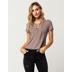 SKY AND SPARROW Rib Lace Up Womens Top