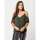 PATRONS OF PEACE Button Front Womens Cold Shoulder Top