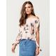 H.I.P. Floral Split Sleeve Womens Off The Shoulder Top