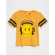 SKY AND SPARROW Smiley Headphones Girls Varsity Tee