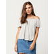 WHITE FAWN Stripe Womens Off The Shoulder Top