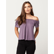 IVY + MAIN Solid Womens Off The Shoulder Top