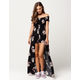SKY AND SPARROW Floral Walk Thru Womens Maxi Romper