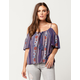 PATRONS OF PEACE Linear Floral Womens Cold Shoulder Top