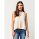 SKY AND SPARROW Lattice Lace Up Womens Top