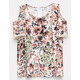 IVY + MAIN Floral Crochet Girls Cold Shoulder Top