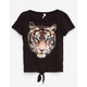SKY AND SPARROW Tiger Girls Tie Front Tee