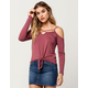 SKY AND SPARROW Tie Front Womens Cold Shoulder Top