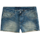 HIPPIE LAUNDRY Raw Edge Girls Denim Cutoff Shorts