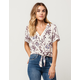 IVY + MAIN Floral Tie Front Womens Top
