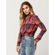 SKY AND SPARROW Embroidered Floral Womens Plaid Shirt