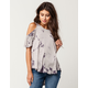 OTHERS FOLLOW Tie Dye Womens Cold Shoulder Top