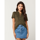 OTHERS FOLLOW Suede Lace Up Womens Top
