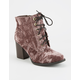 SODA Crushed Velvet Lace Up Womens Boots