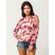 SKY AND SPARROW Tie Dye Womens Cold Shoulder Sweatshirt