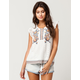 BLU PEPPER Embroidered Lace Womens Top