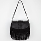 Braid Center Fringe Crossbody Bag