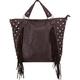 Stud Side Fringe Faux Leather Tote Bag