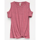 SKY AND SPARROW Twist Front Girls Cold Shoulder Top