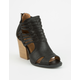 QUPID Woven Strap Womens Heeled Booties