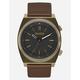 NIXON Brigade Leather Brass & Brown Watch