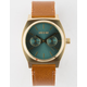 NIXON Time Teller Deluxe Leather Gold & Brown Watch
