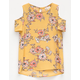 SKY AND SPARROW Floral Girls Cold Shoulder Top