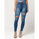 SKY AND SPARROW Blow Out Knee Womens High Waisted Jeans