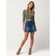 INDIGO REIGN Button Front Denim Mini Skirt