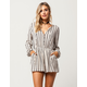 SKY AND SPARROW Stripe Button Front Womens Romper