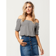WHITE FAWN Striped Womens Off The Shoulder Top