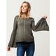SKY AND SPARROW Washed Bell Sleeve Womens Top