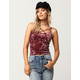 SKY AND SPARROW Cross Front Womens Velvet Cami