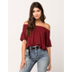 PATRONS OF PEACE Smocked Womens Off The Shoulder Top