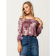 SKY AND SPARROW Tie Dye Womens Off The Shoulder Top
