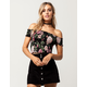 IVY & MAIN Smocked Floral Womens Off The Shoulder Top