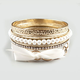 FULL TILT 7 Piece Ribbon Pearl Bangle Bracelets