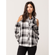 SKY AND SPARROW Plaid Womens Cold Shoulder Top